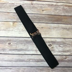 Vintage 80s Belt Black Silver Clasp  Wide Stretch